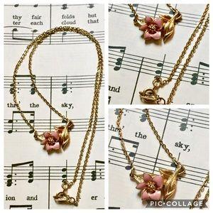 Vintage pink flower dainty gold necklace